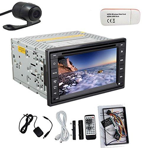 Pupug Universal GPS Satellite Radio Bluetooth Car Stereo DVD CD Player 2 Din HD Touchscreen Free 3G Dongle Rear Camera