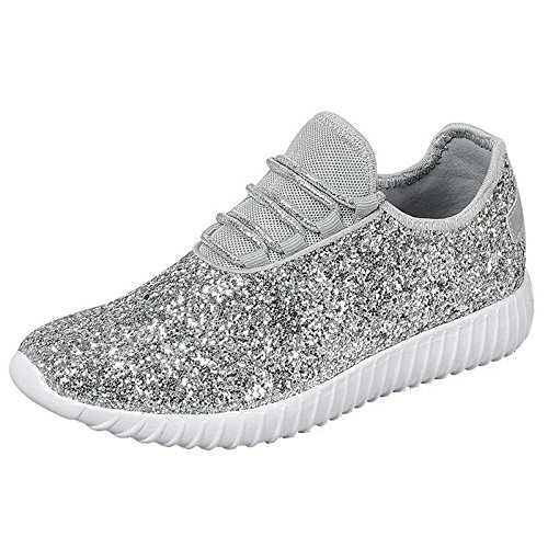 Forever Link Womens Closed Round Toe Sparkling Glitter Lace Up Fitness Trainer Gym Fashion Sneakers 8 (Silver Shoes Trainers)