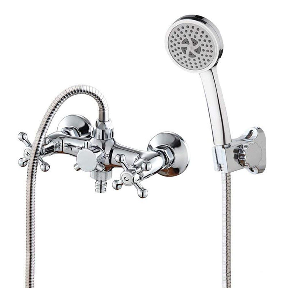 D DYR Faucet All Bronze Double Handle In The Wall Hot And Cold Water Tap Washer Shower Head Multifunction Mixing Valve (Size  A)