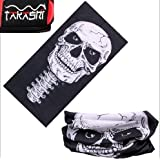TAKASHI (SKULLY - SKELETON) Print magic Multi-task scarf Bicycle bandanas Seamless Tubu Scarf Bandana Cycling Bicycle Face Mask