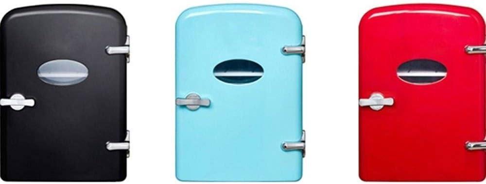 HIZLJJ ミニポータブルコンパクトパーソナル冷蔵庫、クールス&ヒート、4リットルの容量は、100%のフロンフリー&エコフレンドリー、ホームアウトレット&12V車の充電器のためのプラグが含まれています (Color : Blue)