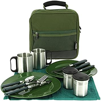Deluxe camping Cubiertos Set 14 piezas para 2 personas Ideal ...