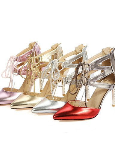 Red Pointed Shoes Dress amp; Heels Stiletto Silver Toe Gold ShangYi golden Heels Pink Evening Women's Party Heel BwqUcAx