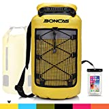 Boncas Waterproof Backpack, 20L Dry Bag with Waterproof Phone Pounch, Roll Top Bag Dry Sack Waterproof Dry Bag Perfect for Kayaking, Fishing, Rafting-Yellow