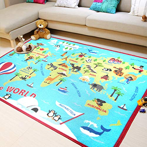 Extra Large Kids Rug World Map Animal Sightseeing Attractions Educational Children's Play Mat Learning Carpet for Playroom Bedroom Non-Slip Washable Nursery Crawling Rug 39''x 59'' Loartee