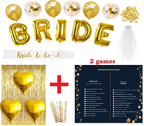 Bachelorette Party Decorations Bridal Shower Set | 30 pcs Kit | Bride To Be Sash | Extra 2 Games | | Veil, BRIDE Foil & Gold Heart Foil & Gold Confett Balloons| Gold Straw, Party Supplies & Favors