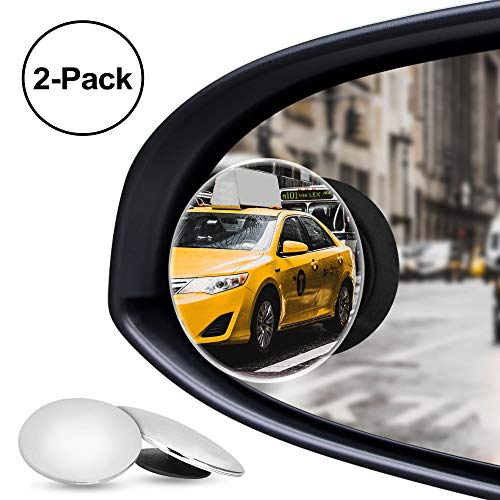 Nebudo Blind Spot Mirror, Rearview Frameless Convex Round Stick-on Design Stick Side Rear View Mirrors for Car SUV Truck Cars, 360 Adjustable Wide Angle for Traffic Safety, HD Glass Blindspot (2-Pack)