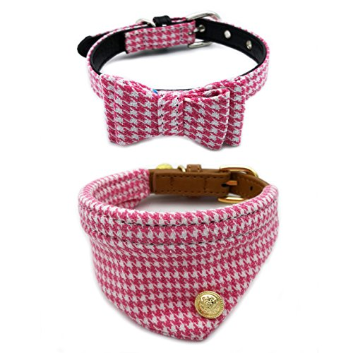 PetFavorites Bowtie Small Dog Cat Collar with Bell Plaid Bandana Collar for Puppy Kitten - Teacup Yorkie Chihuahua Clothes Costume Outfits Accessories, Adjustable (Pink Houndstooth Bow + Bandana) ()