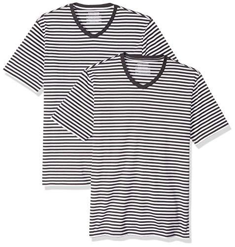 Amazon Essentials Men's Slim-Fit Short-Sleeve Stripe V-Neck T-Shirts, Black/White, Medium