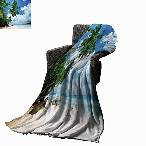 htweight Blanket Beach and Coconut Tree Mahe Island in Seychelles Tranquil Coastal Image Print,Super Soft and Comfortable,Suitable for Sofas,Chairs,beds ()