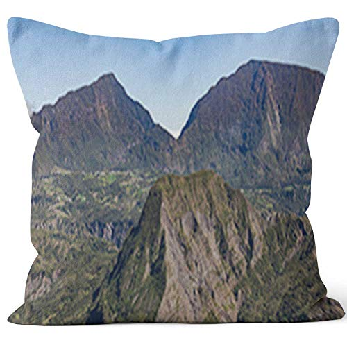 - Nine City Cirque de salazie Mountain Range Throw Pillow Cushion Cover,HD Printing Decorative Square Accent Pillow Case