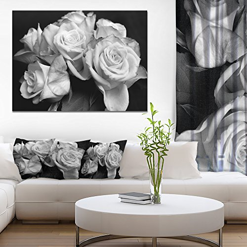 Bunch of Roses Black and White Floral Art Canvas Print ()