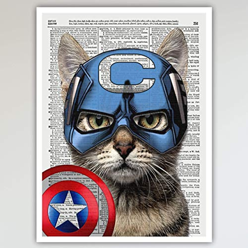 Captain America Cat Reproduction Vintage dictionary Art Print Poster - Captain America & Avengers Super Hero Fun Kid's Bedroom Wall Decor - 11x14 inches, Unframed