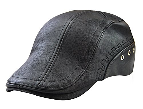 Men's Leather Newsboy Cap Ivy Gatsby Flat Golf Driving Hunting Hat ()