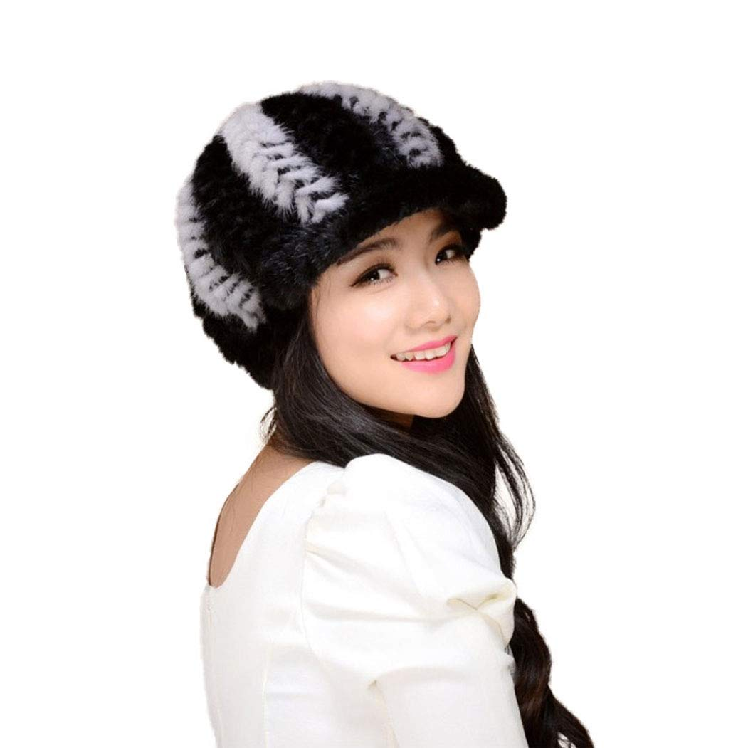 Fur Story 14616 Women's Knitted Real Mink Fur Hat Classic Visor Cap Black+Gray