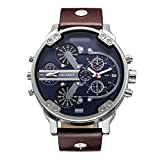 CAGARNY Original Men's Sports Leather Strap 2 dials can work Quartz Date Watch 6820 Silver Blue