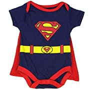 Superman Infant Baby Boys  Creeper Onesie Bodysuit Snapsuit  With Cape (3-6 mo., Navy Blue)