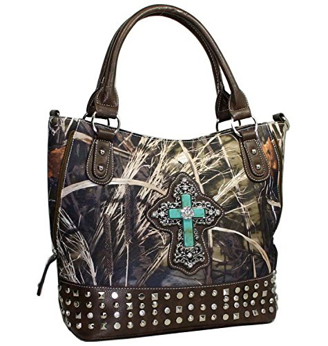 Accent Purse (Western Camo Bling Rhinstone Cross Accent Purse Handbag With Brown Trim - Camo)