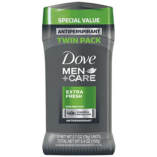 Dove Men+Care Antiperspirant Deodorant Stick, Extra Fresh, 2.7 oz, Twin Pack