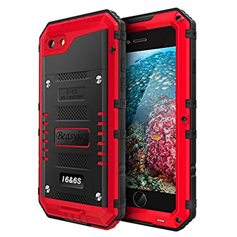 iPhone 6s Case & iPhone 6 Case with Built-in Screen Military Grade Protective Heavy Duty Metal Cover by Beasyjoy Dropproof Shockproof Dirtproof Waterpproof Rugged Case For Outdoor Sport Protection (Iphone 6 Case With Metal)