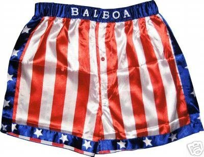 Rocky Balboa Apollo Movie Boxing American Flag Shorts (Medium)]()