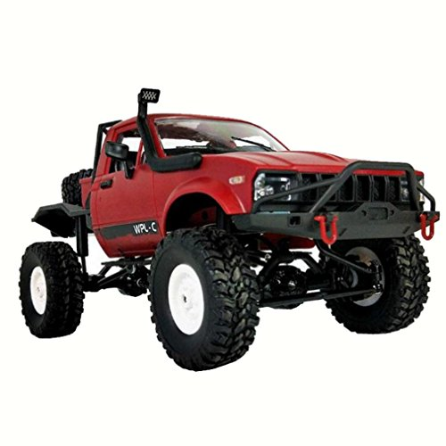 1:16 WPL C14 Scale 2.4G Retro High Speed Remote Control 4WD 4WD Mini Off-road RC Semi-truck RTR Kids Climb Truck Car Toys For Kids (Red)