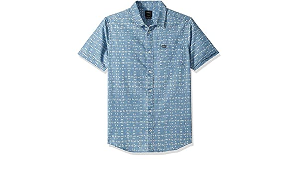 1ce5f4bafcb Amazon.com  RVCA Men s Nakama Dot Short Sleeve Denim Shirt  Clothing