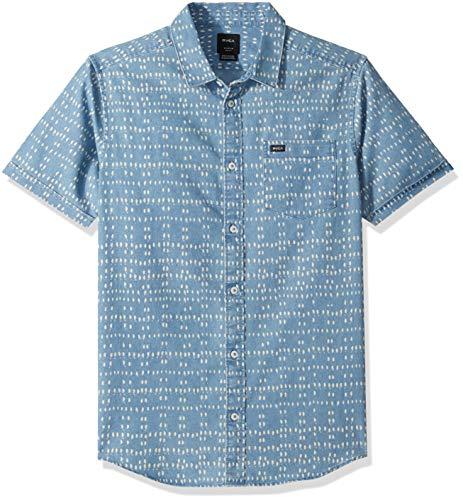 (RVCA Men's NAKAMA DOT Short Sleeve Denim Shirt, XL)