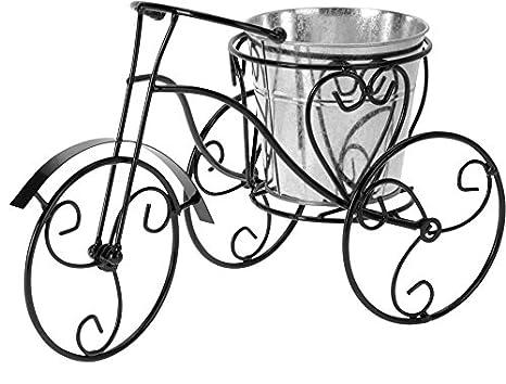 chiccie Deko bicicleta con zinc Maceta, color negro - 32 cm pfanz ...