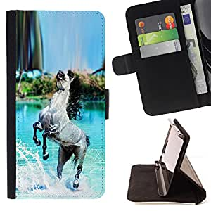 DEVIL CASE - FOR HTC DESIRE 816 - Horse Grey Black Paradise Blue Sea Island - Style PU Leather Case Wallet Flip Stand Flap Closure Cover