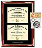 Embossed Double Diploma Frame Personalized Gold Etched College University Degree Framing Glossy Prestige Mahogany Gold Accents Black Matted Dual Certificate Frame