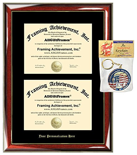 University Double Frame (Embossed Double Diploma Frame Personalized Gold Etched College University Degree Framing Glossy Prestige Mahogany Gold Accents Black Matted Dual Certificate Frame)