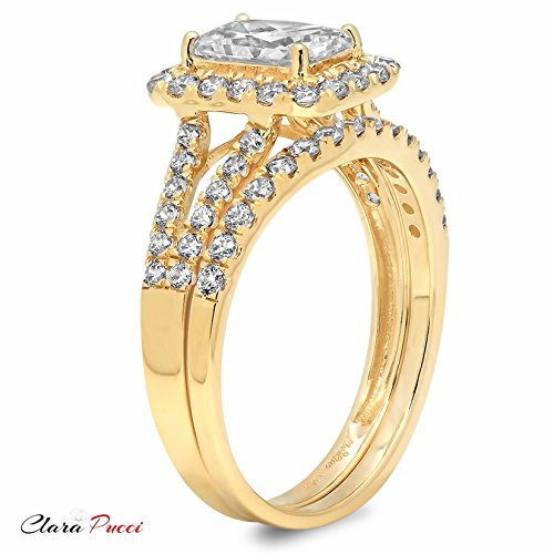 1.8 Ct Emerald Cut Pave Halo Engagement Wedding Bridal Anniversary Ring Band Set 14K Yellow Gold, Clara Pucci