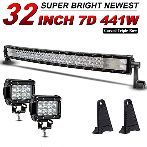 TURBOSII 32Inch Curved Led Light Bar Triple Row 44100LM Spot&Flood Combo Driving Light 2PCS 4Inch LED Pods Fog Lights For Jeep ATV AWD SUV Pickup 4WD 4x4 RZR CanAm - IP67 WATERPROOF, 2 Yrs Warranty