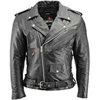 Men's Leather Motorcycle Jacket with CE Certified Armor |...