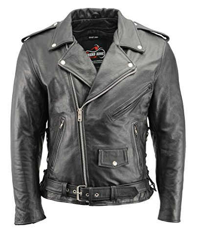 Men's Leather Motorcycle Jacket with CE Certified Armor | Premium Natural Buffalo Leather | 2 Concealed Carry Gun Pockets | Adjustable Side Lace Biker Jacket with Patch Access Lining (Black, M)