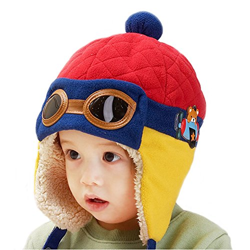 Happy Will Pilot Aviator Fleece Warm Wool Hat Cap with Earmuffs for Kids with Stylus (red) (Earmuffs For Toddler Boys)