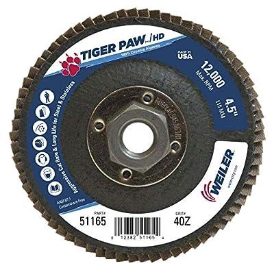 "Weiler 51165 Tiger Paw XHD Super High Density Abrasive Flap Disc, Type 27 Flat Style, Phenolic Backing, Zirconia Alumina, 4-1/2"" Diameter, 5/8""-11 Arbor, 40 Grit, 12000 RPM (Pack of 10)"