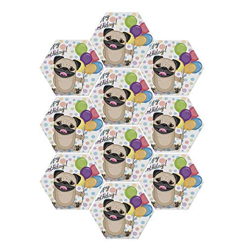 YOLIYANA Birthday Decorations for Kids Durable Hexagon Ceramic Tile Stickers,Animal Cute Dog Smiling Pug with Party Balloons Greeting Card for Living Room Kitchen,9