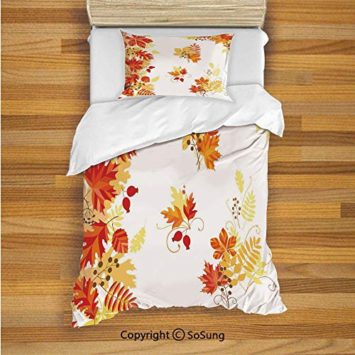 SoSung Fall Kids Duvet Cover Set Twin Size, Autumn Themed Pattern Chestnut Oak Maple Leaves and Berries Corner Design Elements 2 Piece Bedding Set with 1 Pillow Sham,Multicolor