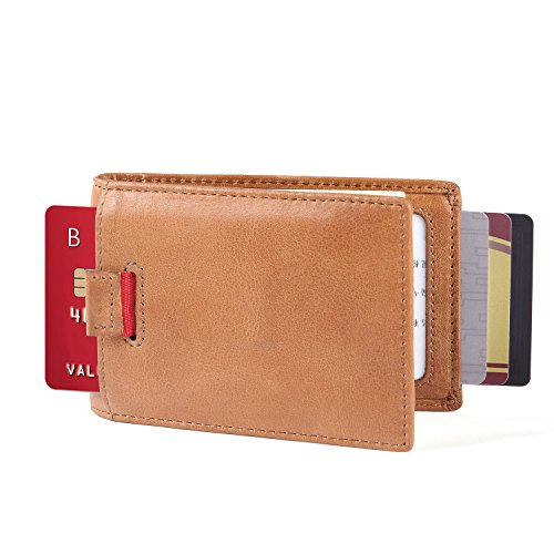 iPulse Minimalist Slim Wallets With RFID Protection — New York Series Handmade Full Grain Leather Billfold Wallet — [ Handmade ] [ Hold Up To 10 Car…
