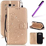 3 d phone cases galaxy s3 - Galaxy S3 Case,Galaxy S3 Flip Stand Case,LEECO 3D Bling Rhinestone Crystal Card Slots Wallet PU Leather Folio Kickstand Protective Case Cover for Samsung Galaxy S3 Crystal Golden