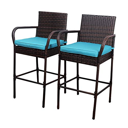 Sundale Outdoor 2 Pcs All Weather Patio Furniture Set Brown Wicker Barstool with Blue Cushions, Back Support and Armrest (Stools Back Rattan Bar High)