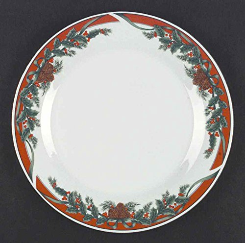 "TIENSHAN Traditions ~Dinner Plate~10 3/8"" ~Traditions, Red Band, Green Holly, Smooth~Discontinued~"
