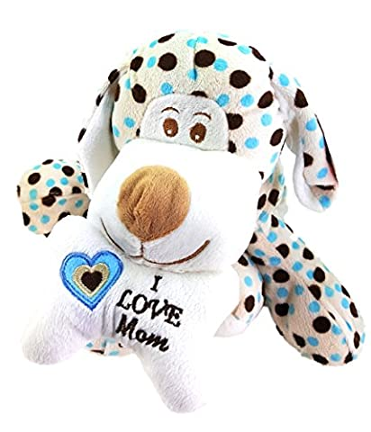 I Love Mom Plush Puppy Blue Polka Dot Dog 11 Inches by Fiesta - Blue Puppy Plush