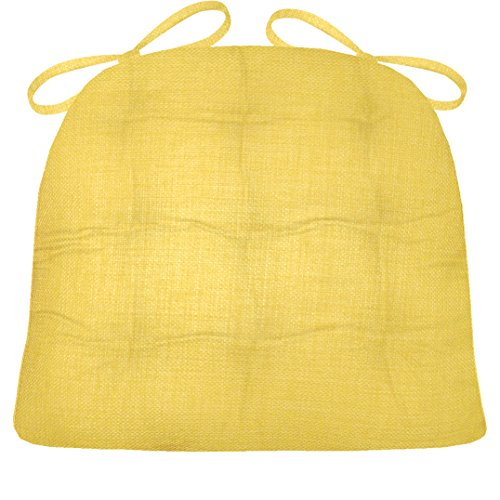 Barnett Products Wrought Iron Chair Cushion - Rave Yellow Gold Solid Color - Medium - Indoor/Outdoor Dining Chair Pad - Mildew Resistant, Fade Resistant - Latex Foam Filled Cushion - Reversible