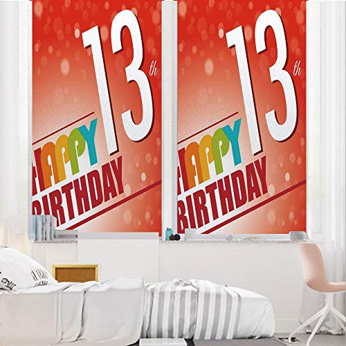13th Birthday Decorations 3D No Glue Static Decorative Privacy Window Films, Retro Style Teenage Party Invitation Graphic Design Bokeh Rays,24