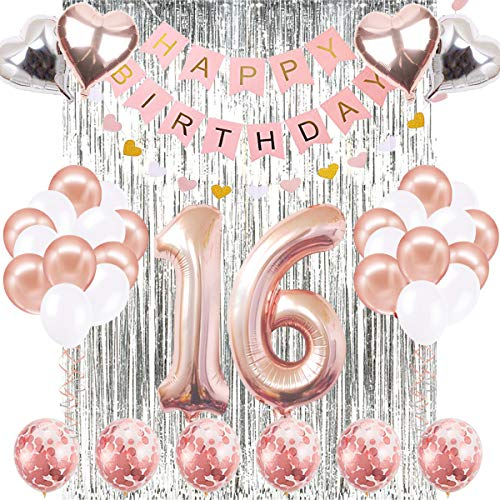 16th Birthday Decorations Banner Balloon, Happy Birthday Banner, 16th Rose Gold Number Balloons, Number 16 Birthday Balloons, 16 Years Old Birthday Decoration Supplies Sweet Sixteen Decorations -