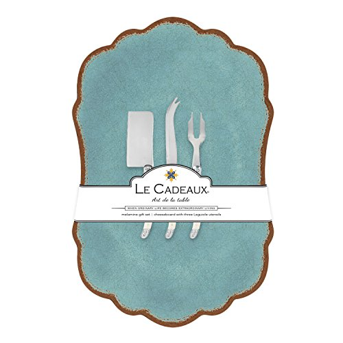Le Cadeaux Melamine Antiqua Turquoise Large Cheese Board with Utensils (Turquoise Cheese Knife)