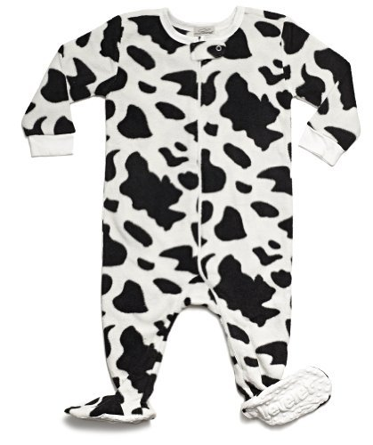 Cow Sleeper - Leveret Footed Fleece Sleeper Pajama (6-12 Months, Cow Black)